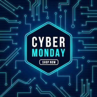 Concepto de tecnología realista cyber lunes
