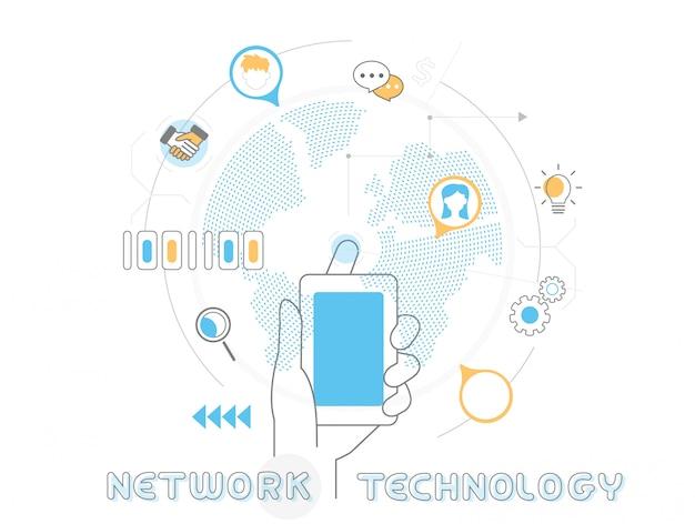 Concepto de tecnología de red