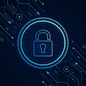 Concepto de tecnología de seguridad cibernética escudo con datos personales de icono de ojo de la cerradura