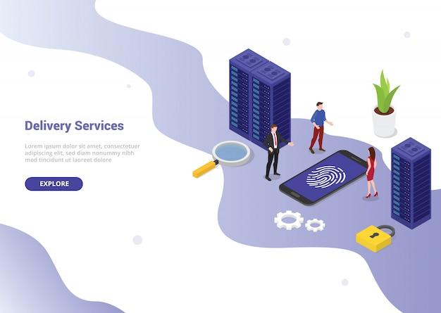 Concepto de tecnología de seguridad de huella digital para el diseño de plantillas de sitios web o la página de inicio de aterrizaje