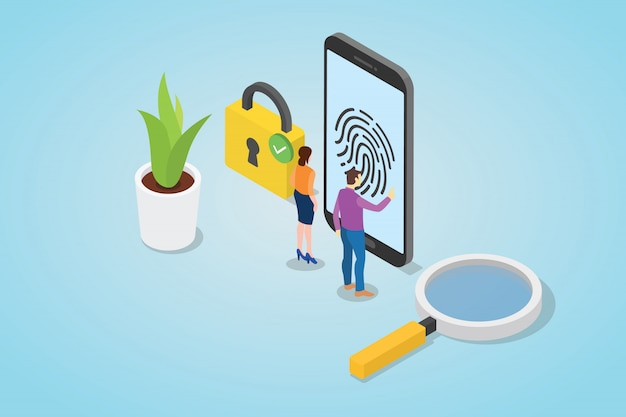Concepto de tecnología de seguridad de huella digital con teléfono inteligente y candado