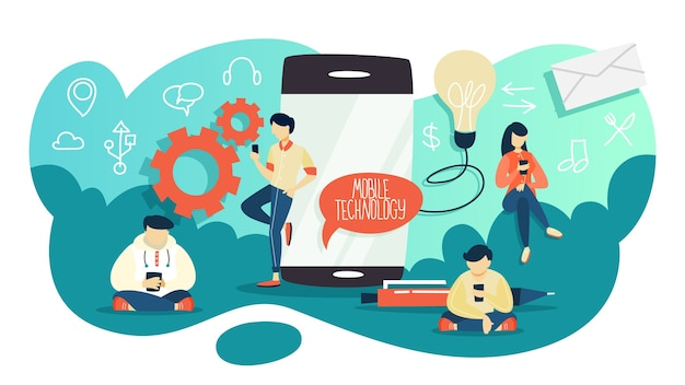 Concepto de tecnología de telefonía móvil. idea de progreso digital. comunicación y conexión virtual, red global. gente charlando en la red social. ilustración