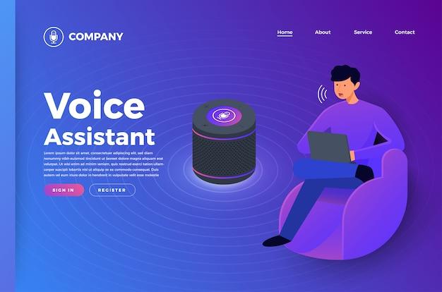 Concepto de tecnología de voz. ilustraciones isométricas. asistente que conecta el dispositivo con el aprendizaje automático o la inteligencia artificial. internet de las cosas.
