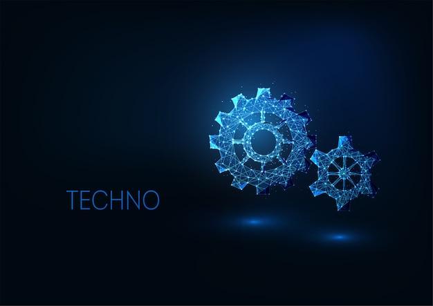 Concepto de tecnologías digitales futuristas con engranajes brillantes