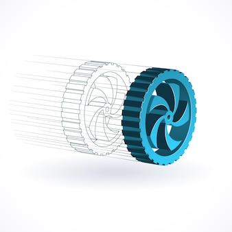 Concepto tecnológico de rueda de coche, ilustración de producción