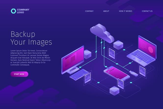 Concepto tecnológico para subir imágenes a la página de inicio