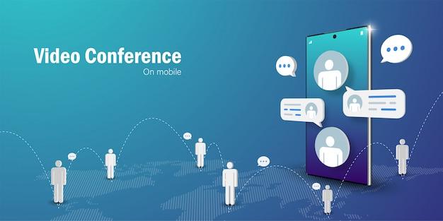 Concepto de telecomunicaciones, reunión de negocios de videoconferencia en línea en teléfonos inteligentes móviles