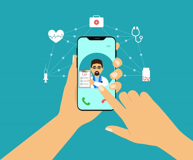 Concepto de teléfono inteligente en la mano, consulta en línea con el médico.