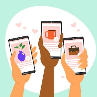 Concepto de teléfono inteligente de marketing en redes sociales