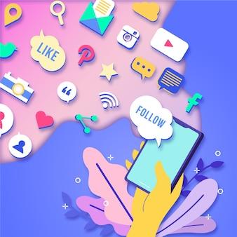 Concepto de teléfono móvil de marketing en redes sociales con aplicaciones