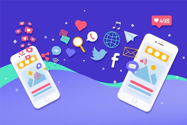 Concepto de teléfono móvil de marketing en redes sociales con logotipos de aplicaciones Vector Premium