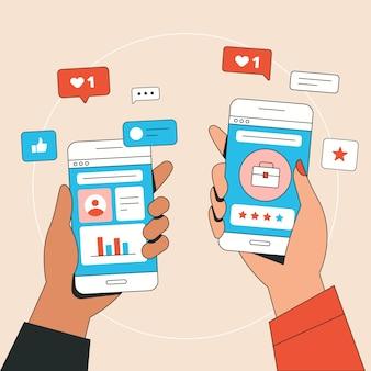 Concepto de teléfono móvil de marketing en redes sociales con personas que dan me gusta