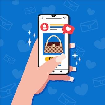 Concepto de teléfono móvil de marketing en redes sociales