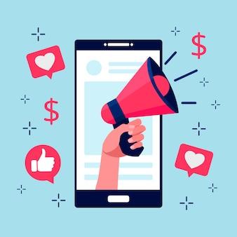 Concepto de teléfono móvil de redes sociales