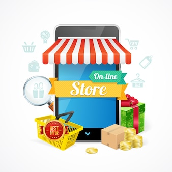Concepto de teléfono móvil de tienda online aislado sobre fondo blanco. ilustración vectorial