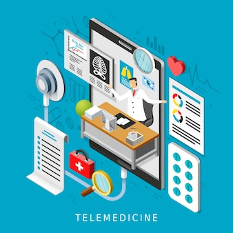 Concepto de telemedicina en diseño plano isométrico 3d
