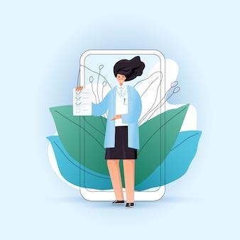 Concepto de telemedicina en línea con carácter de mujer, médico con lista de verificación para un paciente frente a teléfono inteligente y aplicación médica. concepto de medicina médico en línea