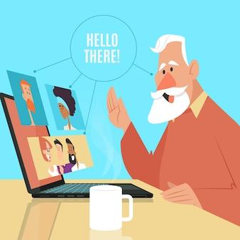 Concepto de teletrabajo con hombre y laptop