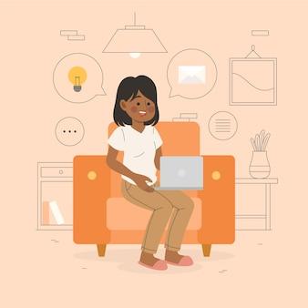 Concepto de teletrabajo ilustrado con mujer hablando con un amigo
