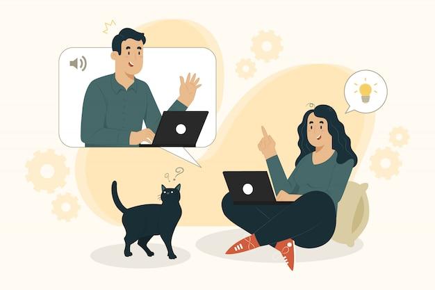 Concepto de teletrabajo mujeres jóvenes que trabajan desde casa ilustración