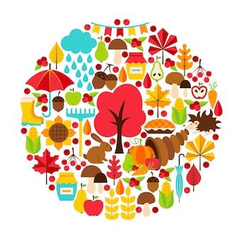 Concepto de temporada de otoño. ilustración de vector. conjunto de otoño aislado sobre blanco.