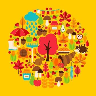 Concepto de temporada de otoño. ilustración de vector. conjunto de otoño.