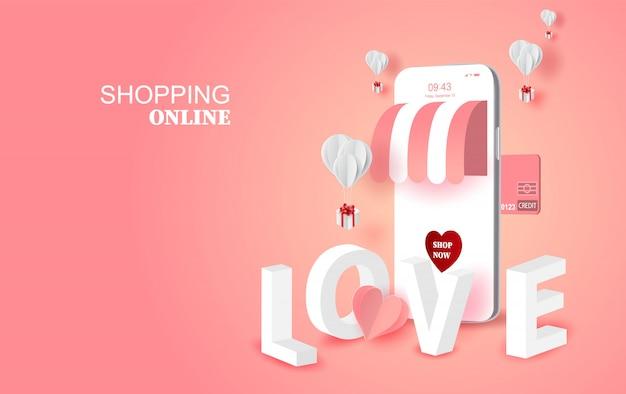 Concepto de temporada de san valentín amor smartphone