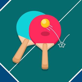 Concepto de tenis de mesa de diseño plano
