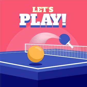 Concepto de tenis de mesa ilustrado