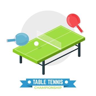 Concepto de tenis de mesa con raquetas y pelota.