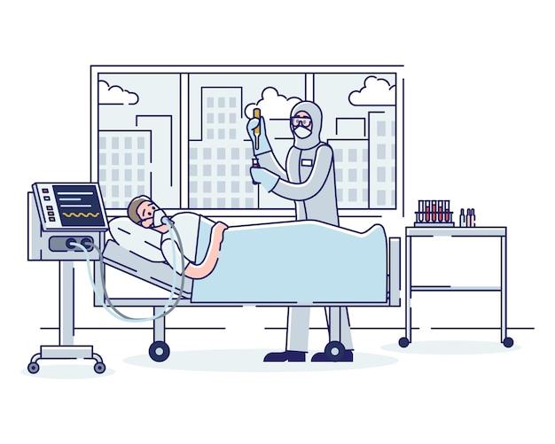 Concepto de terapia intensiva y coronavirus hombre infectado enfermo