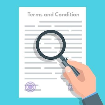 Concepto de términos y condiciones. documento de papel, contrato. ilustración de vector de estilo plano
