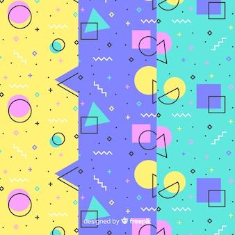 Concepto de textura de colección de patrones de memphis