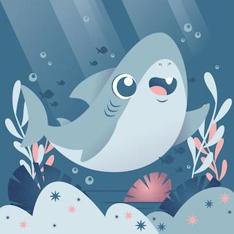 Concepto de tiburón bebé de diseño plano