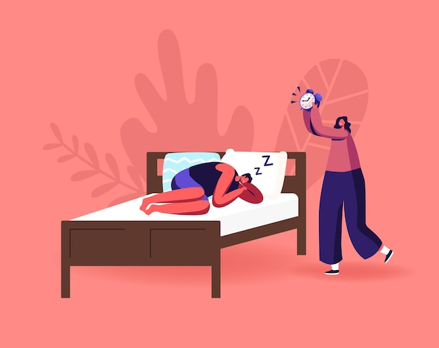 Concepto de tiempo de descanso nocturno, sueño y ropa de cama