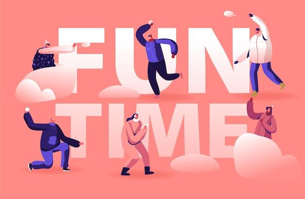 Concepto de tiempo de diversión de temporada festiva de vacaciones de invierno. ilustración plana de dibujos animados
