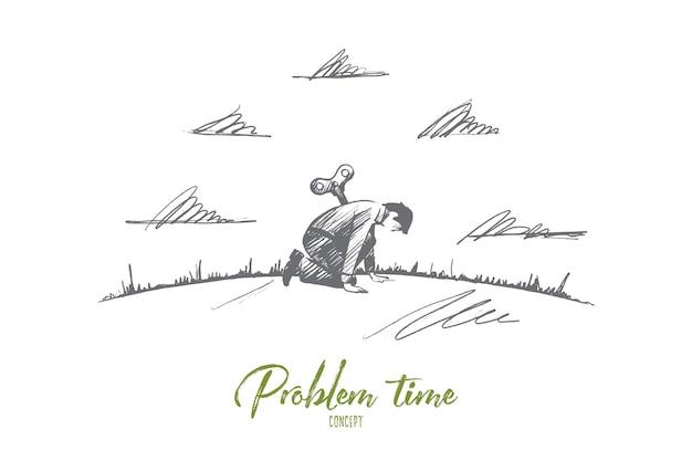 Concepto de tiempo de problema. dibujado a mano hombre triste en problemas. persona cansada ilustración aislada.
