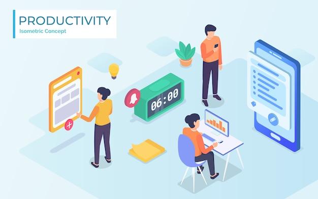 Concepto de tiempo y productividad - isométrico