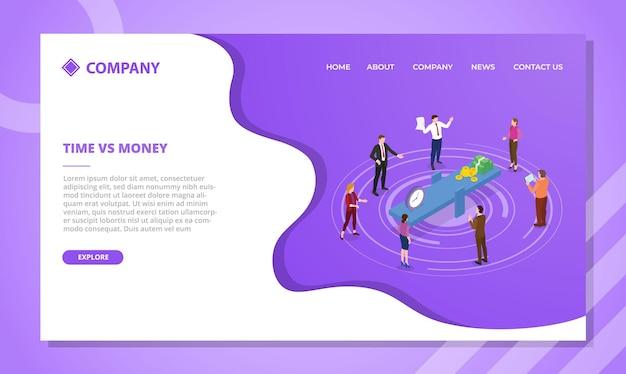 Concepto de tiempo vs dinero para plantilla de sitio web o página de inicio de aterrizaje con estilo isométrico