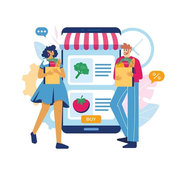 Concepto de tienda de abarrotes en línea. mujer y hombre con abarrotes saliendo de smartphone