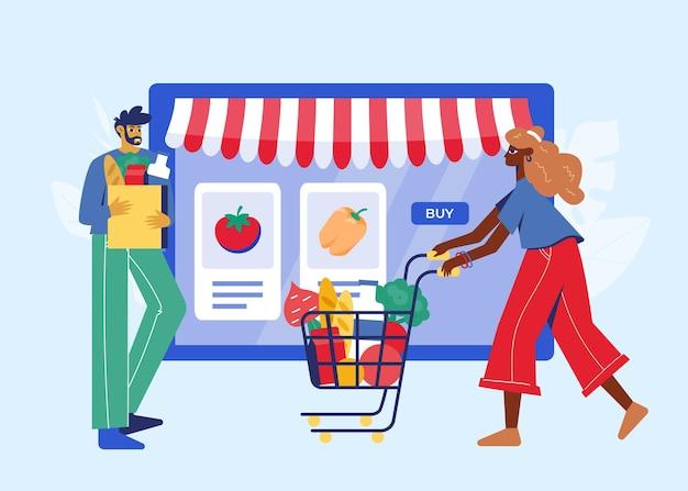 Concepto de tienda de abarrotes en línea. mujer y hombre con comestibles cerca de la tableta.