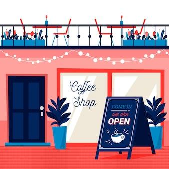 Concepto de tienda con el cartel abierto