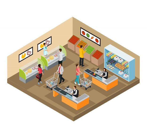 Concepto de tienda de comestibles isométrica