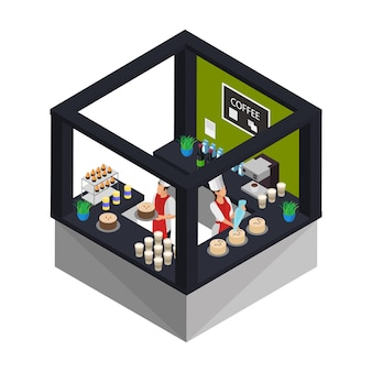 Concepto de tienda de confitería isométrica con trabajadores cocinando