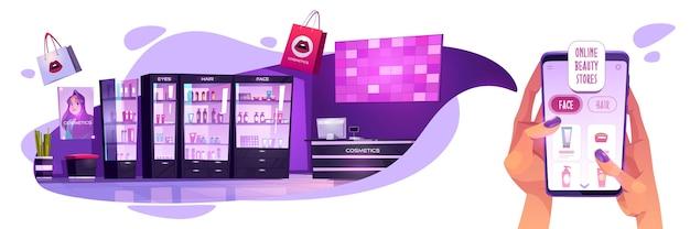 Concepto de tienda de cosméticos online. manos de mujer sosteniendo teléfono inteligente con aplicación para compras por internet de productos de belleza, niña elige maquillaje cosmético, productos para el cuidado del cuerpo en tienda virtual, ilustración de dibujos animados