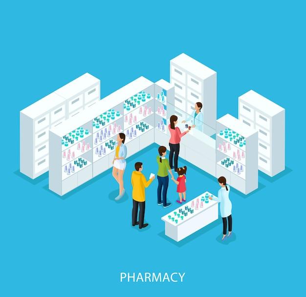 Concepto de tienda de farmacia isométrica