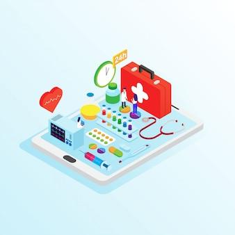 Concepto de tienda de farmacia en línea plana diseño isométrico