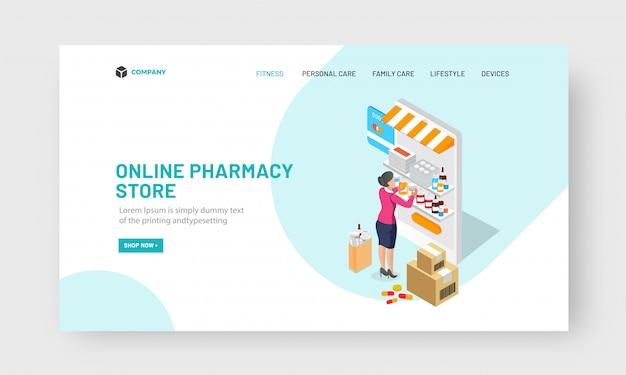 Concepto de tienda de farmacia en línea