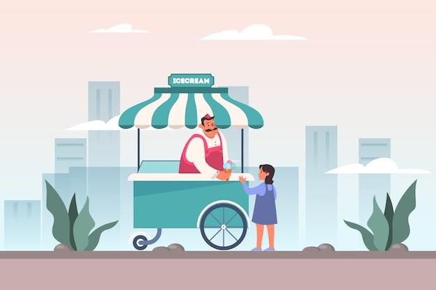 Concepto de tienda de helados. chica compra helado en pista de heladería móvil, cafetería de comida callejera. heladero en un carro.