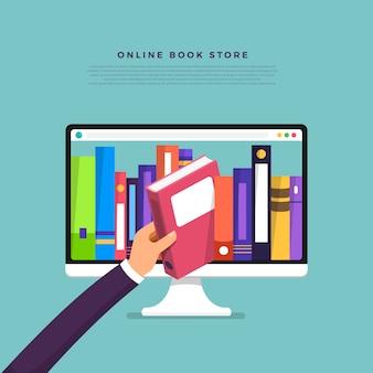 Concepto de tienda de libros online. libro de selección manual desde el dispositivo de internet. ilustrar.